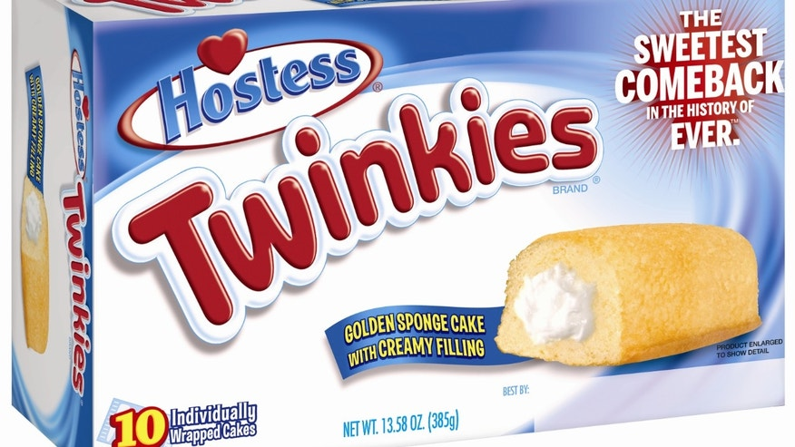 This undated image provided by Hostess Brands LLC shows a box of Twinkies. Twinkies will be back on shelves by July 15, 2013, after its predecessor company went bankrupt after an acrimonious fight with unions last year. The brands have since been purchased y Metropoulos & Co. and Apollo Global Management. (AP Photo/Hostess Brands)