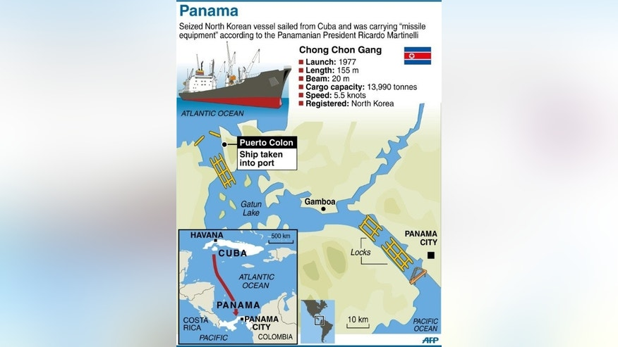Graphic of the Panama canal, showing where a ship flying the North Korean flag was seized by the authorities.