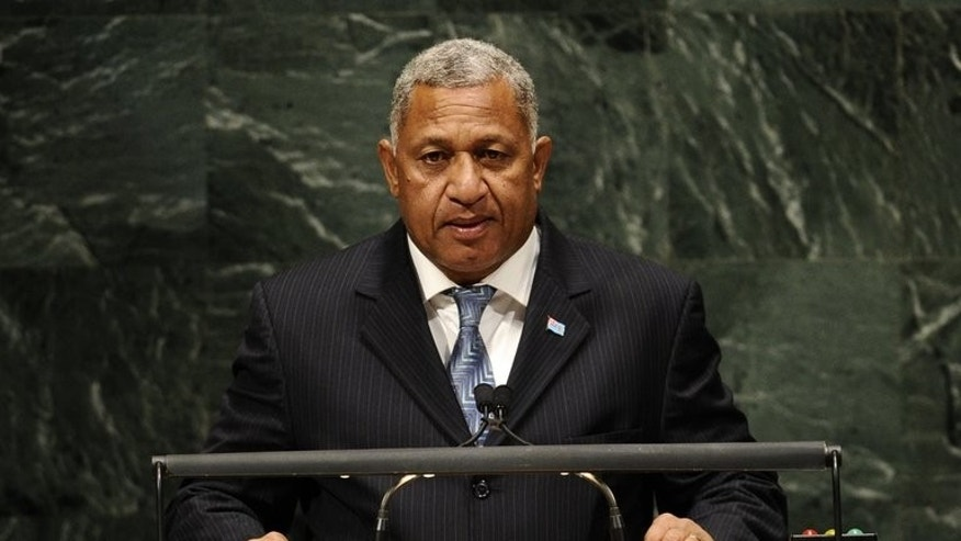 Fiji's military leader Voreqe Bainimarama addresses the General Assembly at the United Nations on September 27, 2010. The regime said it had suspended one of the South Pacific nation's main opposition parties for failing to meet its financial obligations.
