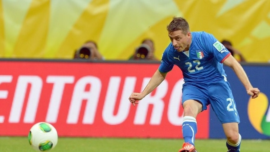 Italy's midfielder Emanuele Giaccherini scores against Brazil during their FIFA Confederations Cup Brazil 2013 Group A football match, at the Fonte Nova Arena in Salvador, on June 22, 2013. Giaccherini completed his move from Italian champions Juventus to Sunderland, the English Premier League club said Tuesday.