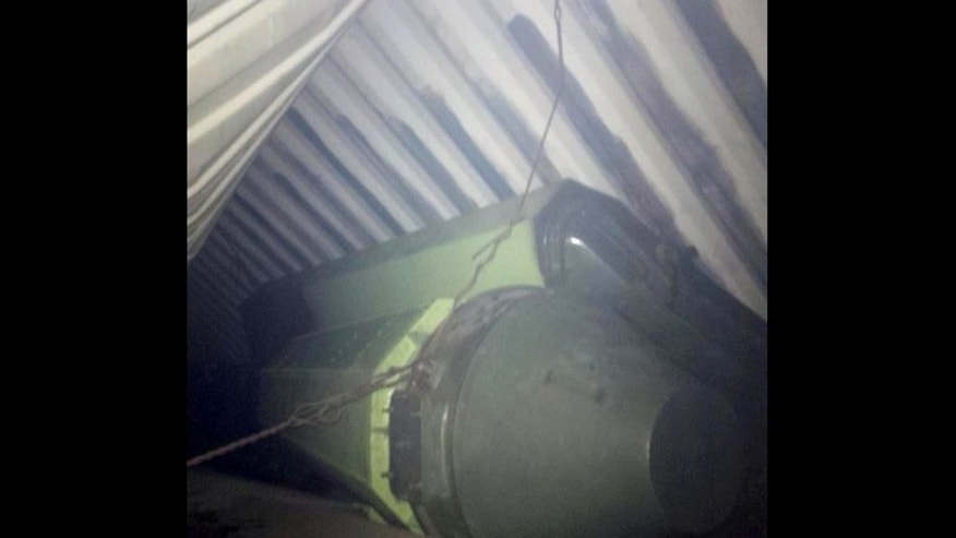 July 15, 2013: This is a picture Panama's President Ricardo Martinelli posted on his twitter account showing what he said officials believe is sophisticated missile equipment found in containers of sugar aboard a North Korean-flagged ship traveling from Cuba. Panamanian officials verified the tweet was authentic but did not immediately respond to requests for further details.