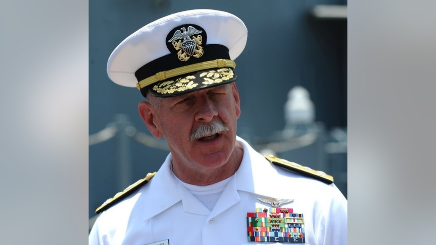 "Vice Admiral Scott Swift, commander of the US 7th Fleet, speaks to journalists in Vietnam on April 23, 2012. He has described military relations with China as ""collegial"" and rejected Cold War comparisons, urging ""methodical and thoughtful"" diplomacy in the region."