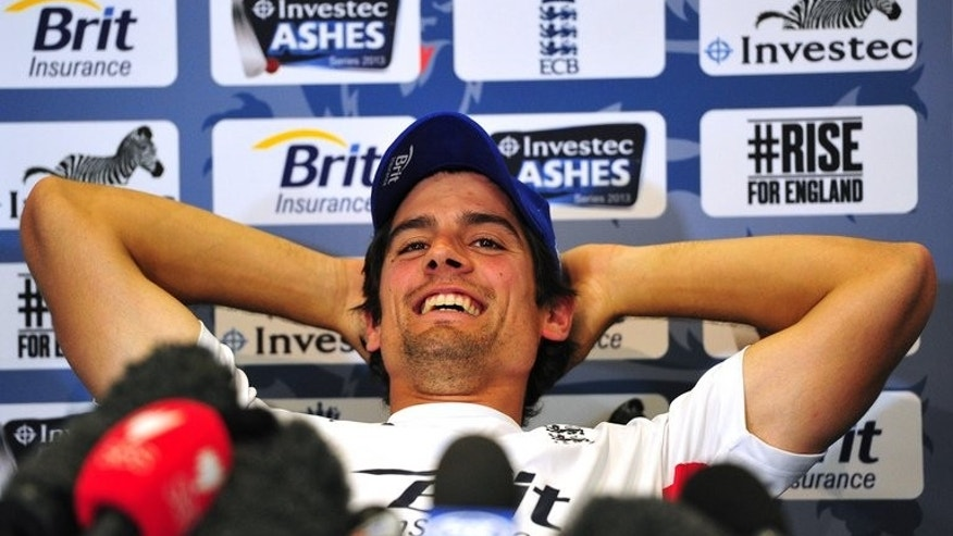 England captain Alastair Cook addresses a press conference at Lord's cricket ground in north London, on July 17, 2013. Cook says team spirit can never be taken for granted as Australia battled to present a united front after accusations of dressing room disharmony made by ex-coach Mickey Arthur.