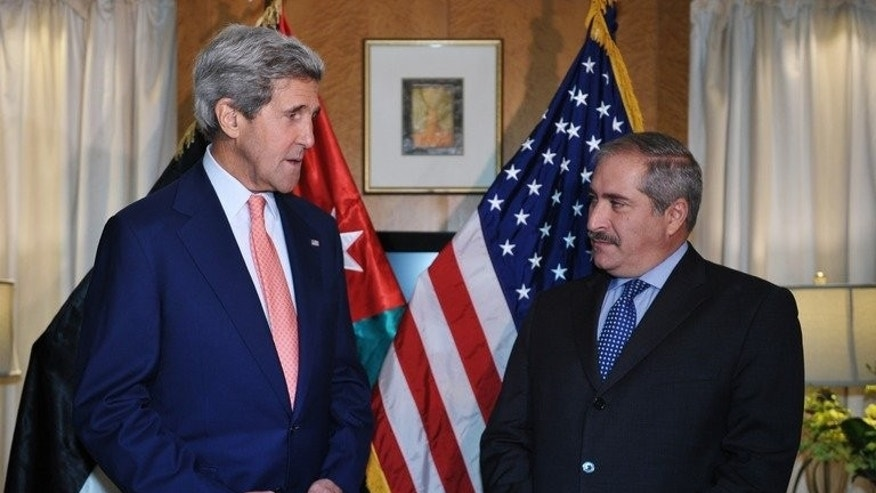 US Secretary of State John Kerry speaks during a meeting with Jordan's Foreign Minister Nasser Judeh on July 16, 2013 in Amman. Kerry was meeting Jordanian leaders on a fresh trip to the Middle East focused on advancing the peace talks amid turmoil in Egypt and Syria.