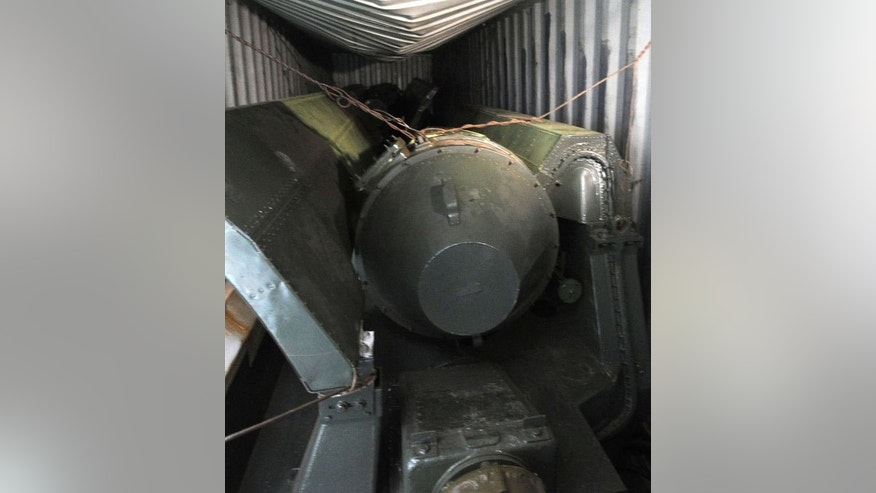 View of what seems to be weapon parts aboard a North Korean-flagged ship on July 16, 2013 which tried to enter the Panama Canal last week.