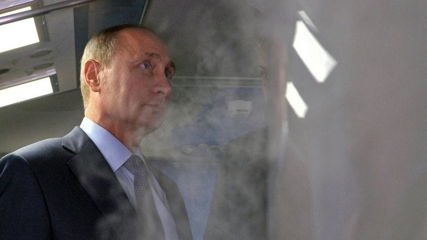 Russian President Vladimir Putin inspects a medical support system at the Universiade 2013 on July 12, 2013. A Russian court will on Thursday deliver a verdict in the embezzlement trial of top protest leader Alexei Navalny, an abrasive critic of Putin who risks years in prison and an end to his budding political career