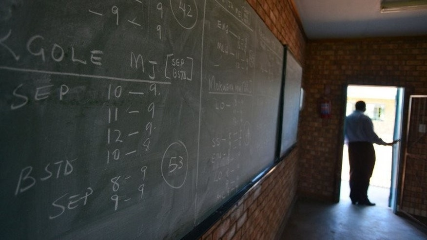 A blackboard at the Alapha Secondary School in Bayswater, a village in Limpopo province, South Africa, is pictured on February 7, 2013.