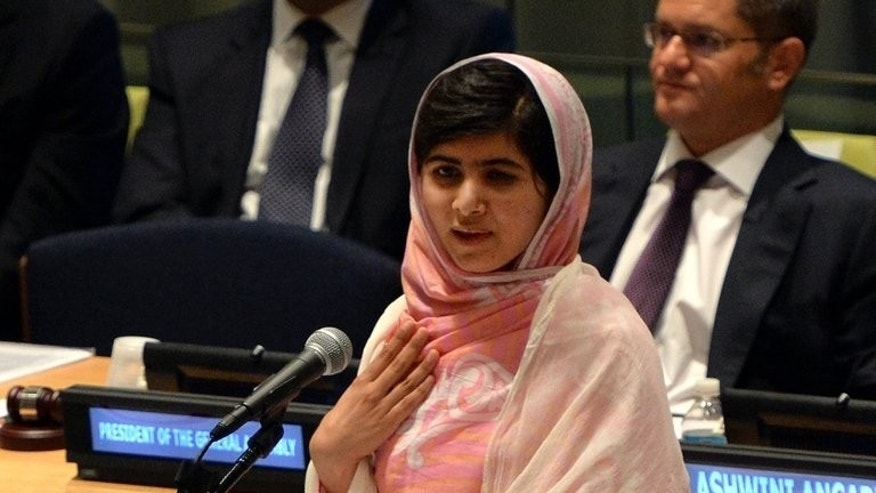 "Pakistani student Malala Yousafzai speaks before the United Nations Youth Assembly July 12, 2013. A senior Pakistani Taliban commander has written to Malala accusing her of ""smearing"" them and of promoting ""satanic"" values, while urging her to return home."
