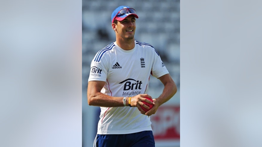 England's Steve Finn takes part in a training session at Lord's on July 17, 2013. Despite finding a slow pitch at Trent Bridge not to his liking, Finn's local knowledge is likely to see him retain his place.