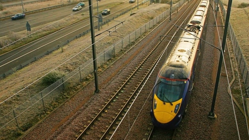 A 140mph Hitachi-built Class 395 train travels through the Kent countryside in south-east England, on December 12, 2008. Britain on Thursday awarded a ??1.2-billion ($1.8-billion, 1.4-billion-euro) contract to Japan's Hitachi to build more high-speed trains at its new factory in northeastern England.