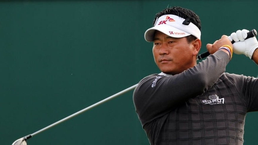 South Korea's KJ Choi tees off on the first hole during the first round of the British Open at Muirfield golf course at Gullane in Scotland, on July 18, 2013.