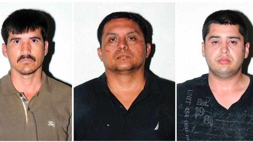 July 16, 2013: In this combo of three photos released by the Mexican Navy, are Zetas drug cartel leader Miguel Angel Trevino Morales, center, Ernesto Reyes Garcia, left, and Abdon Federico Rodriguez Garcia, right, after their arrests in Mexico. Trevino Morales, 40, was captured before dawn Monday by Mexican marines who intercepted a pickup truck with $2 million in cash in the countryside outside the border city of Nuevo Laredo, which has long served as the Zetas' base of operations.