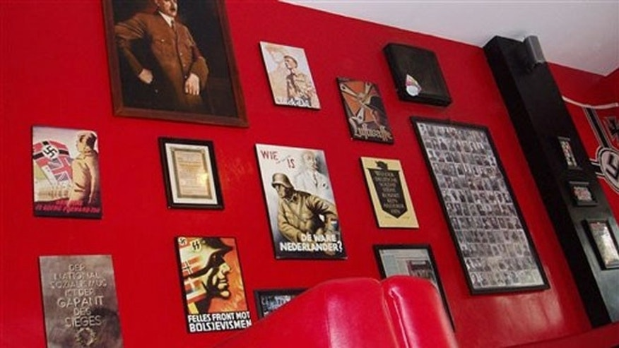 July 14, 2013:  Nazi-related memorabilia hanging on a wall at Soldatenkaffe restaurant in Bandung, West Java, Indonesia.