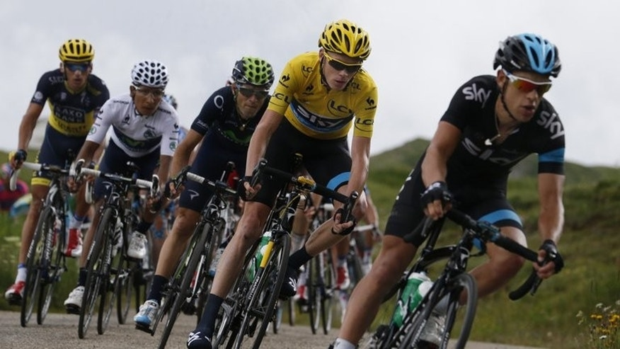 (From R) Richie Porte, Christopher Froome, Alejandro Valverde, Nairo Quintana and Roman Kreuziger ride during the 172.5 km 18th stage of the 100th edition of the Tour de France cycling race, on July 18, 2013, between Gap and Alpe-d'Huez, French Alps.