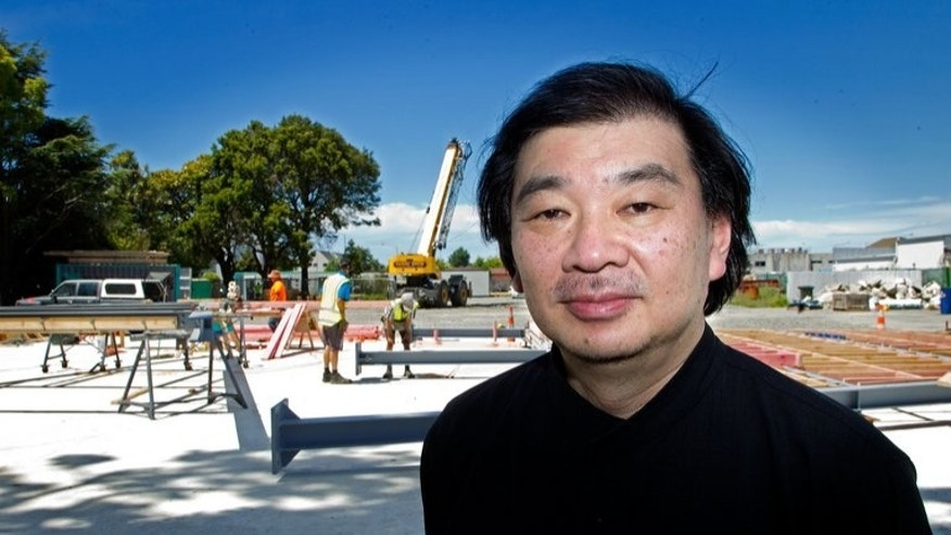 Japanese architect Shigeru Ban, pictured in front of the new Christchurch Cathedral building site, on December 5, 2012. When Ban designed a new cathedral in earthquake-devastated Christchurch, he chose the most unlikely of materials -- cardboard -- for the landmark project.
