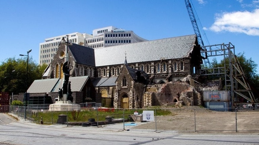Fenced-off old Christchurch Cathedral, missing its tower nearly two years after being badly damaged by an earthquke, pictured on December 5, 2012. When Japanese architect Shigeru Ban designed a new cathedral, he chose the most unlikely of materials -- cardboard -- for the landmark project.