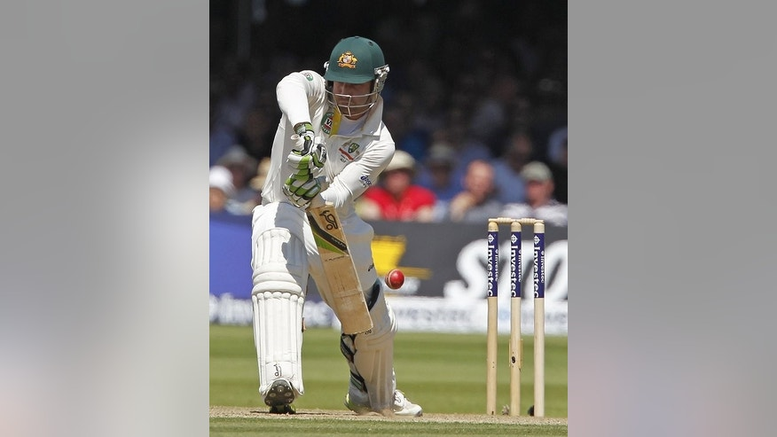 Australia's Phillip Hughes edges this shot to be caught out by England's wicketkeeper Matt Prior for 1 run off the bowling of England's Tim Bresnan during the second day of their second Ashes Test match, at Lord's cricket ground in London, on July 19, 2013.