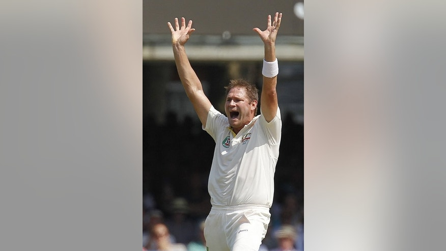 Ryan Harris makes a successful appeal for the wicket of Joe Root at Lord's on Thursday. Harris ripped the heart out of England's top order on Thursday with three valuable wickets, including two in five balls, to keep Australia in contention for a crucial victory in the battle to regain the Ashes.