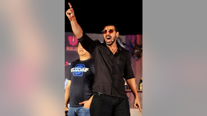 "Indian Bollywood actor John Abraham promotes ""Shootout at Wadala"" on April 16, 2013 in Mumbai. A string of Bollywood releases this year show the Indian film industry's ongoing fascination with Mumbai's underworld, following a murky history of links between the mafia and the movie business."