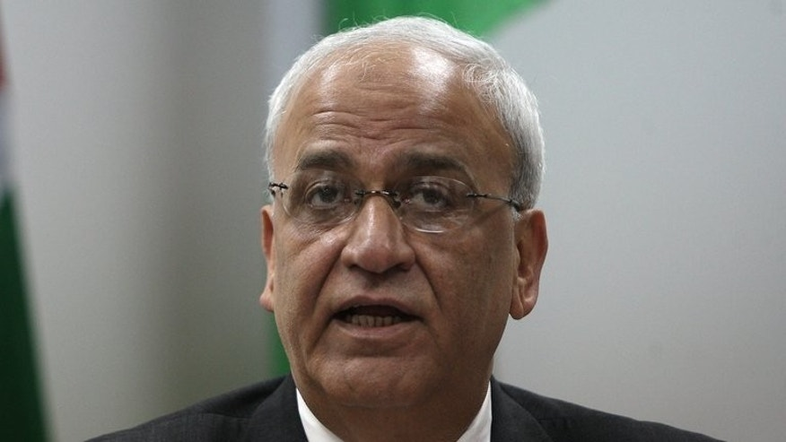 Saeb Erekat, Palestinian chief negotiator, speaks to journalists in the West Bank city of Ramallah on January 2, 2012. Erakat was announced on Friday as the man to open dialogue with his Israeli counterpart at meetings in Washington after three years of stalled peace negotiations.