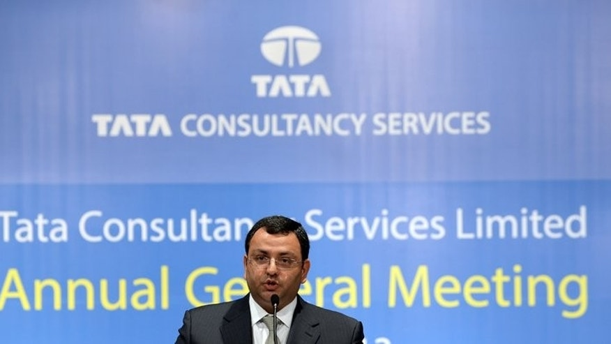 In this file photo, new Tata Group chairman, Cyrus Mistry, speaks at his first and the 9th Annual General Meeting of Tata Consultancy Services (TCS), in Mumbai, on June 28, 2013. Shares in TCS, India's biggest IT outsourcing firm, rose to a record high on Friday after reporting better-than-expected quarterly earnings.