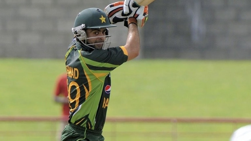Pakistan opening batsman Ahmed Shehzad plays a cut shot at Beausejour Cricket Ground, in Gros Islet, St. Lucia on July 19, 2013.
