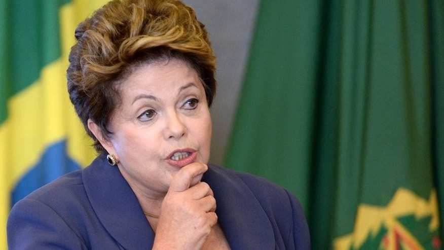 Brazilian President Dilma Rousseff delivers a speech on July 17, 2013. She renewed her commitment to affirmative action programs for Afro-Brazilians in a meeting with 20 leading black groups.