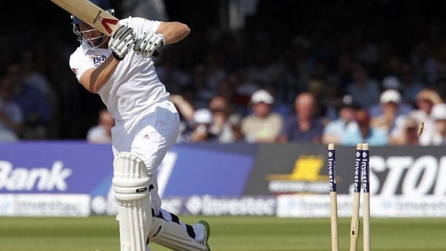 Jonny Bairstow as a Peter Siddle delivery, later ruled a no ball, hits his stumps at Lord's on Thursday. Bairstow had made 21 on Thursday's first day of the second Test when he was clean bowled by Siddle, with England then teetering on 171 for five.