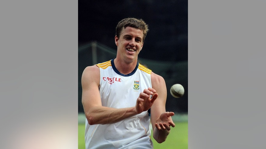 South Africa's Morne Morkel during a practice session in Colombo on July 16, 2013. The fast bowler and Lonwabo Tsotsobe were doubtful for Saturday's match.