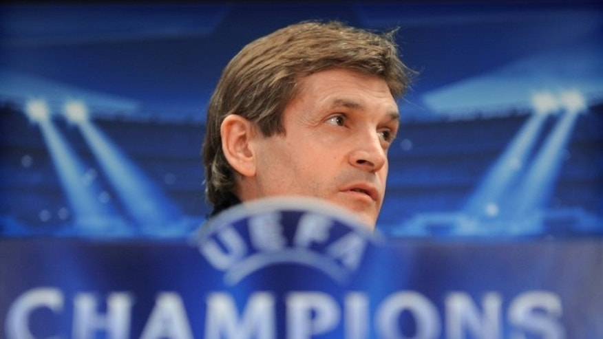 Barcelona's coach Tito Vilanova takes part in a press conference near Barcelona on April 30, 2013. Vilanova's time in charge of Barcelona drew to a close after just 14 months on Friday when the 44-year-old stepped down as coach after suffering a relapse in his brave battle against cancer.
