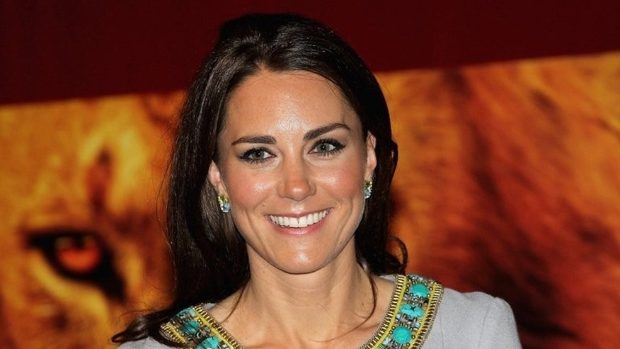 "Catherine, Duchess of Cambridge, attends a premiere in London on April 25, 2012. The Duchess was dubbed ""Waity Katie"" before Prince William finally proposed to her. And the nickname has resurfaced as the wait for her to give birth drags on."