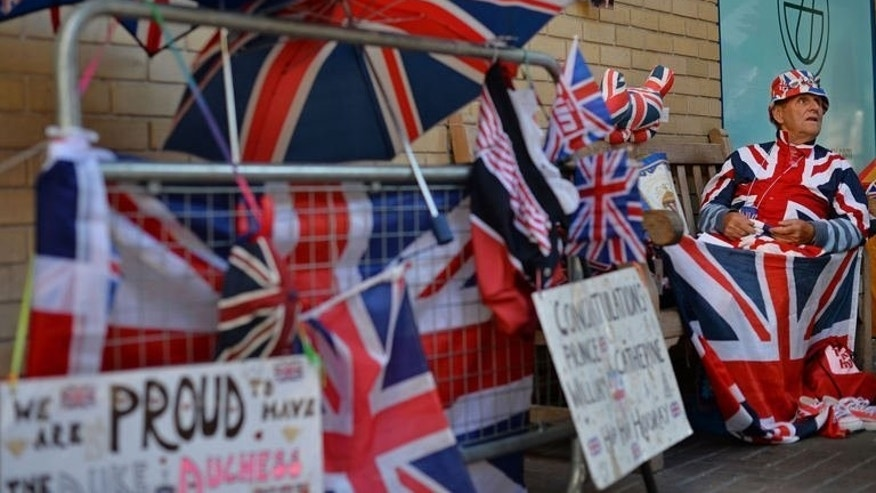 Royal supporter Terry Hutt has been camped out for 9 days outside of St Mary's Hospital in London, on July 19, 2013. Will & Kate's baby set one day to inherit the British throne was officially due in mid-July, but as the days tick by, boredom, panic and acts of nonsense are creeping in.