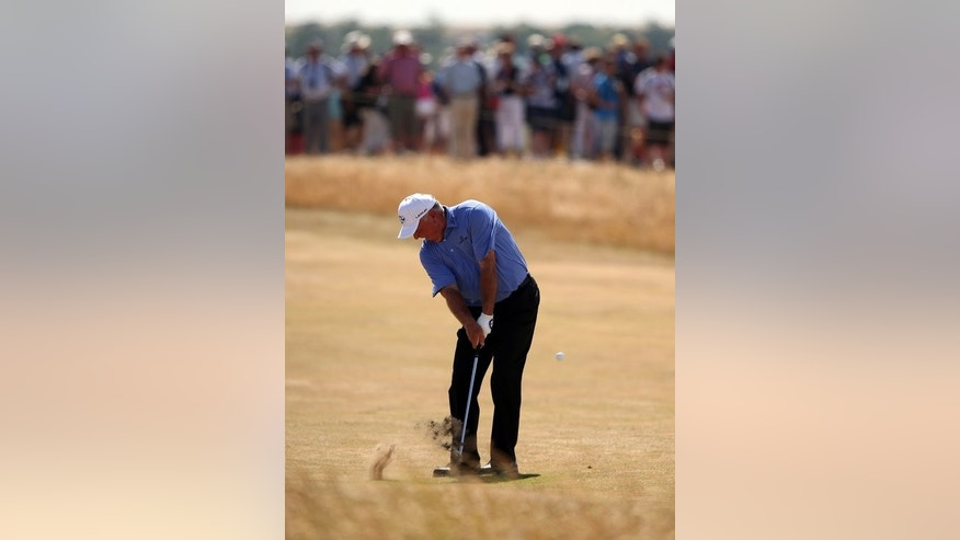 Mark O'Meara plays a shot on the 11th fairway during the British Open at Muirfield on Thursday. Former Open champion O'Meara is hard on the heels of leader Zach Johnson after the first round.