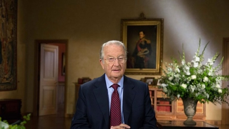 Belgium's King Albert II records his annual television and radio speech at the Royal Palace in Brussels, on July 16, 2013. Albert II has called on Belgians to stick together as he bade them a formal farewell ahead of his abdication after 20 years on the throne.