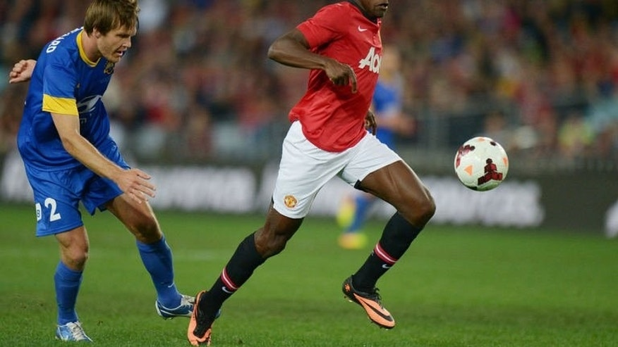Danny Welbeck (right) of Manchester United football club breaks clear during the tour match against the Foxtel A-league Allstars in Sydney on July 20, 2013.