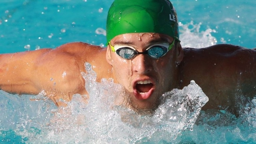South Africa's Chad Le-Clos, pictured as he swims to win the men's 200m butterfly at an int'l meeing in Canet-en-Roussillon, France, on June 16, 2013. Olympic golden boy le Clos carries South Africa's medal hope at world championships, which start Sunday, after the Rainbow Nation's swim team solved its cash concerns.