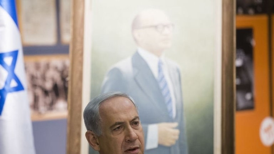 Israeli Prime Minister Benjamin Netanyahu chairs the weekly cabinet meeting in Jerusalem, on July 21, 2013. Netanyahu has warned ministers that renewed peace talks with the Palestinians will be tough, and said any draft treaty would be put to a referendum.