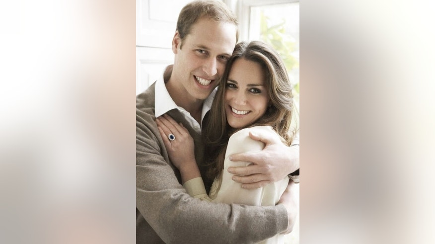 An official portrait released by Clarence House on December 11, 2010 of Prince William and his fiance Kate Middleton.