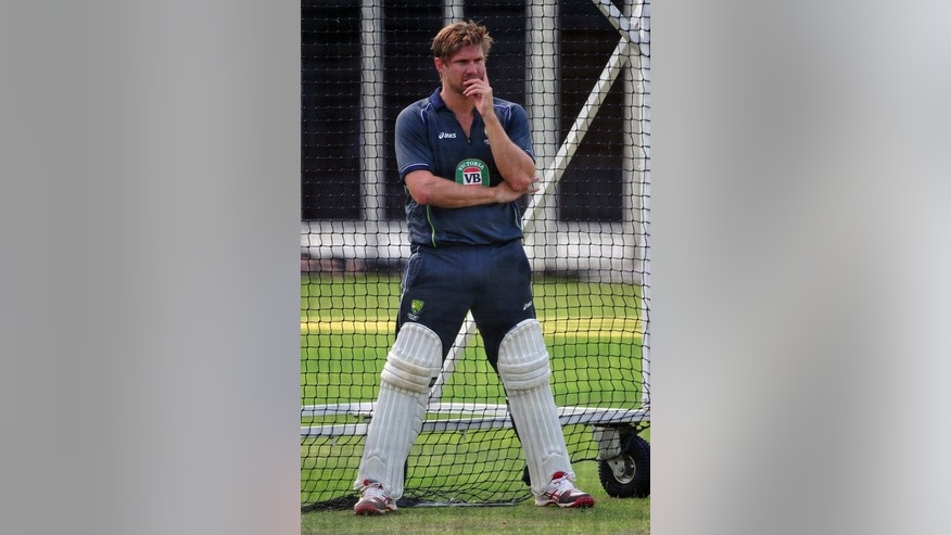 Australia's Shane Watson, seen during a training session at Lord's cricket ground in London, on July 17, 2013. Former captain Allan Border on Tuesday took aim at Australia's hapless batting during the Ashes series, saying the top order should be embarrassed while telling Watson to sort himself out.