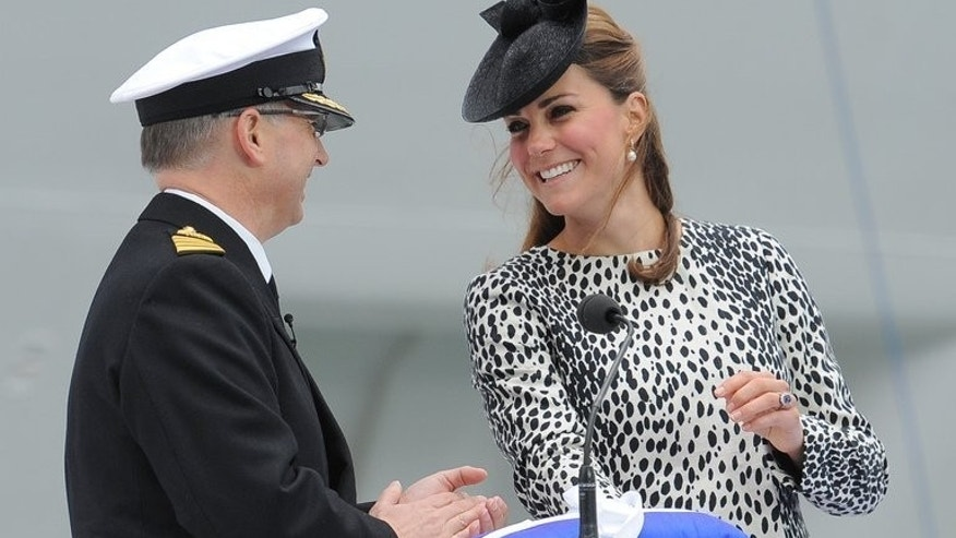 Catherine, Duchess of Cambridge names a ship the 'Royal Princess' in Southampton, on June 13, 2013. Kate's pregnancy has seen her endure illness, media frenzies, bikini shot scandals and a prank that ultimately ended in tragedy.