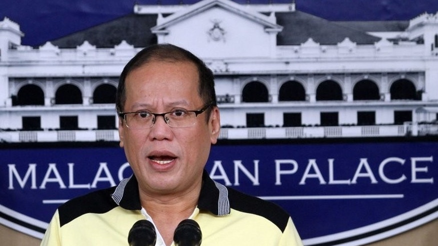 Photo taken and released on February 26, 2013 by the Malacanang Photo Bureau (MPB) shows Philippine President Benigno Aquino speaking during a press conference at Malacanang Palace in Manila. Aquino said Monday that work would start in weeks to divide his family's giant sugar plantation between thousands of peasant farmers, ending a decades-long struggle for control.
