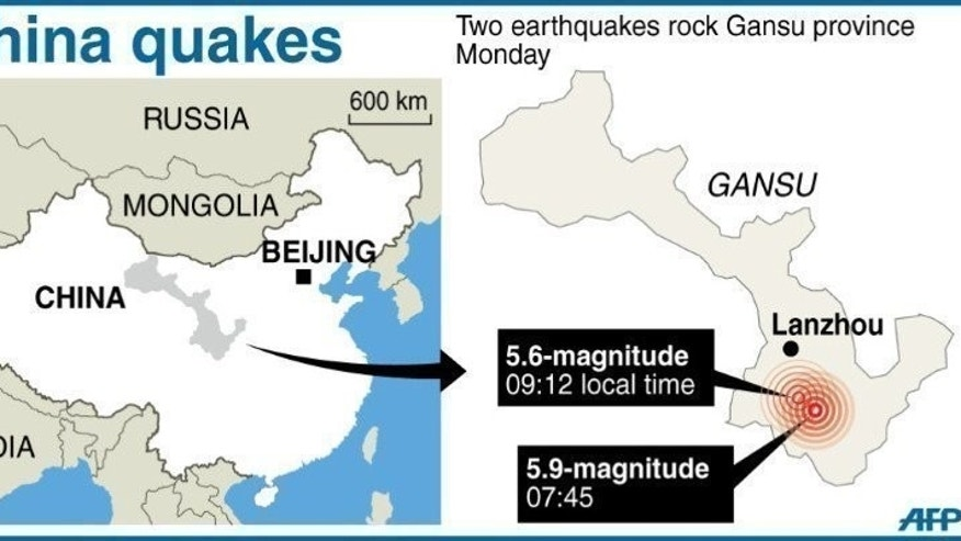 Graphic map showing the epicentres of two quakes that shook China's Gansu province, on July 22, 2013. Rescuers have battled through landslides and clogged roads in a bid to reach victims of twin earthquakes in northwest China which killed 89 people, injured almost 600 and damaged more than 20,000 buildings