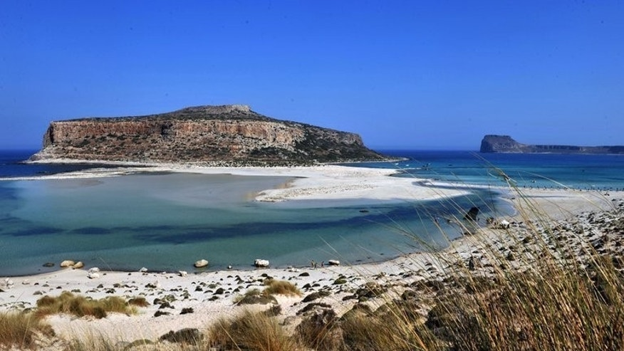 View of the Gramvousa peninsula off the northwest coast of the Greek island of Crete, July 15, 2010. A 20-year-old British tourist was found fatally stabbed before dawn on Tuesday at a popular travel resort on Crete, police said.