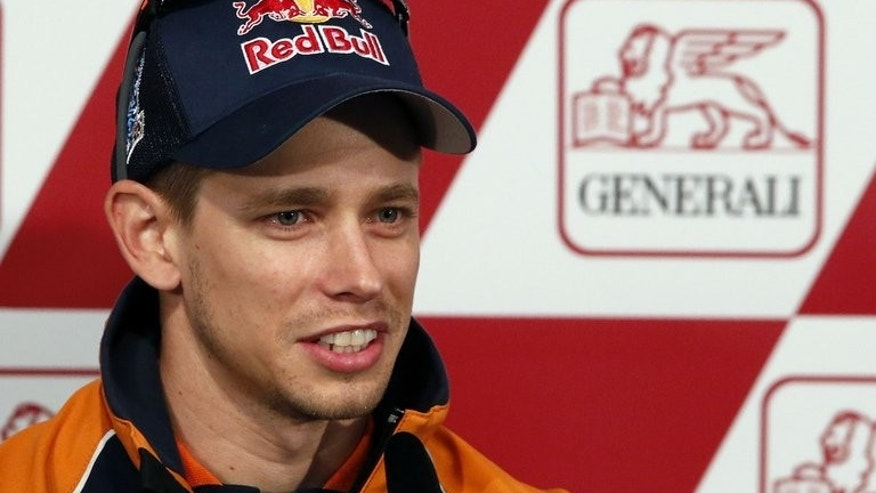 Casey Stoner, pictured during a press conference of the Valencia Grand Prix, at Ricardo Tormo racetrack in Cheste, on November 8, 2012. Former world Moto GP champion fuelled speculation on Tuesday that he may return to the sport by announcing he will test ride with his old team Honda at Motegi.