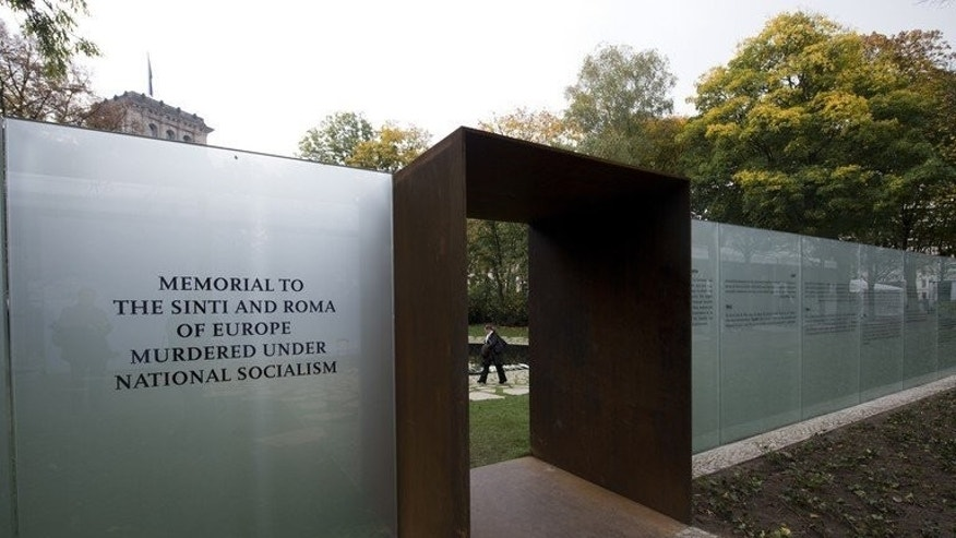"View of the memorial to the Roma and Sinti victims of the Nazi Holocaust in Berlin, on October 24, 2012. France's interior minister has called for a lawmaker to be ""severely punished"" after a journalist recorded him allegedly saying Hitler may not have killed enough Roma."