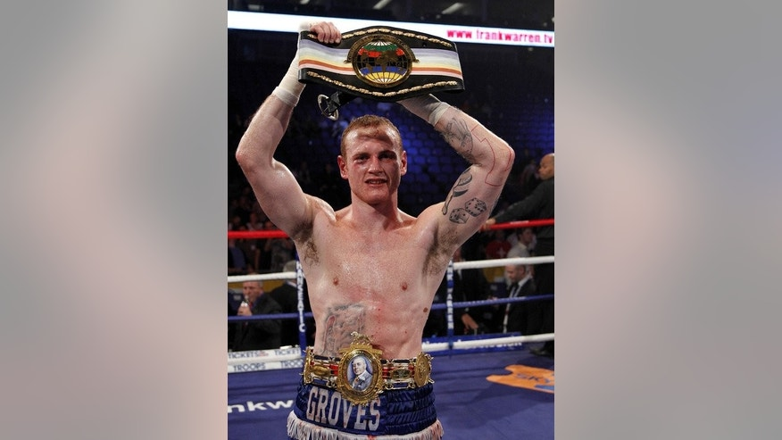 George Groves reacts after winning a fight against James DeGale at the O2 Arena, in London on May 21, 2011. Carl Froch will defend his International Boxing Federation (IBF) and World Boxing Association (WBA) super-middleweight titles against Groves later this year.