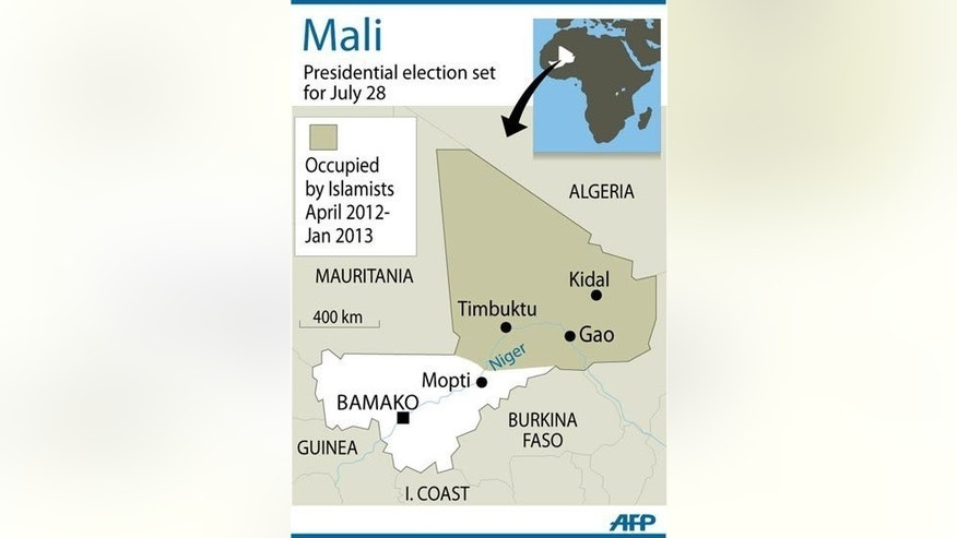 Map ot the west African nation of Mali, which is due to hold presidential elections on July 28. Keen to hand over its military role in Mali to the United Nations, France doggedly insisted that polls be held this month in the traumatised nation, despite difficulties in organising the vote.