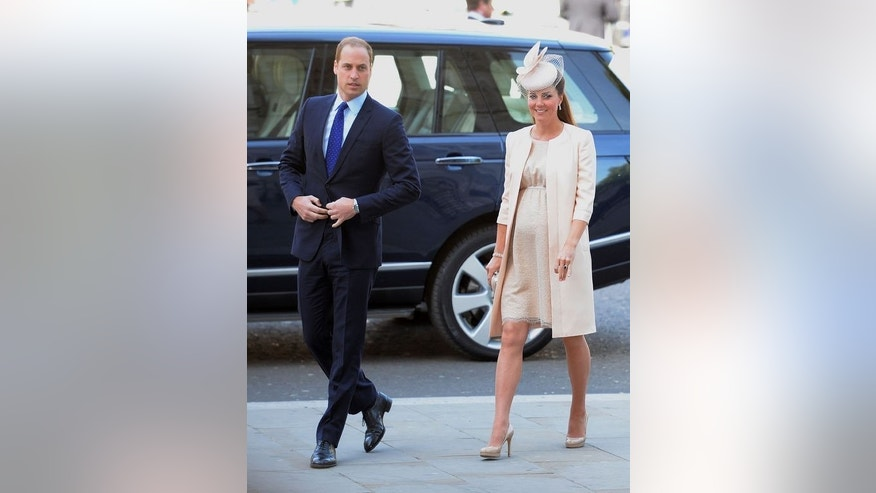 Prince William and his wife Kate arrive at Westminster Abbey in London on June 4, 2013. William and Kate have yet to announce a name for their new newborn son -- but bookmakers have tipped George and James as likely contenders for Britain's new third in line to the throne.