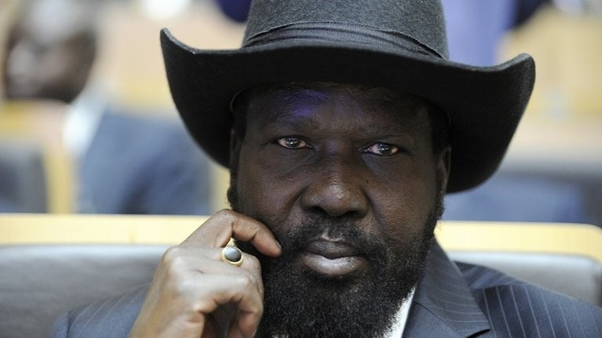 South-Sudanese president Salva Kiir attends an African Union meeting on January 27, 2013 in Addis Ababa. Kiir has suspended his entire cabinet and vice president in the largest reshuffle in the history of the two-year-old nation, the former information minister told AFP Tuesday.