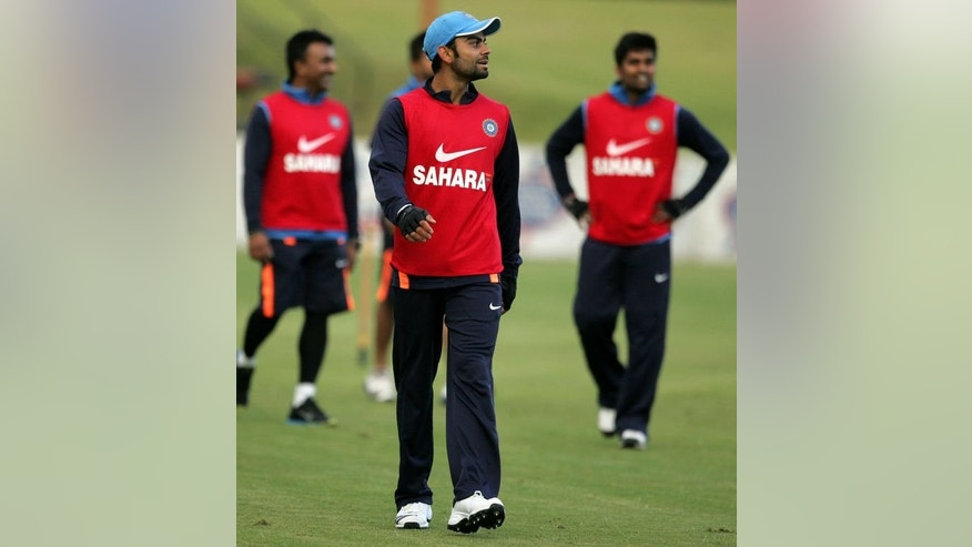 Indian cricketers attend a practice session in Harare on July 22, 2013, ahead of a 5 match ODI series in Zimbabwe.